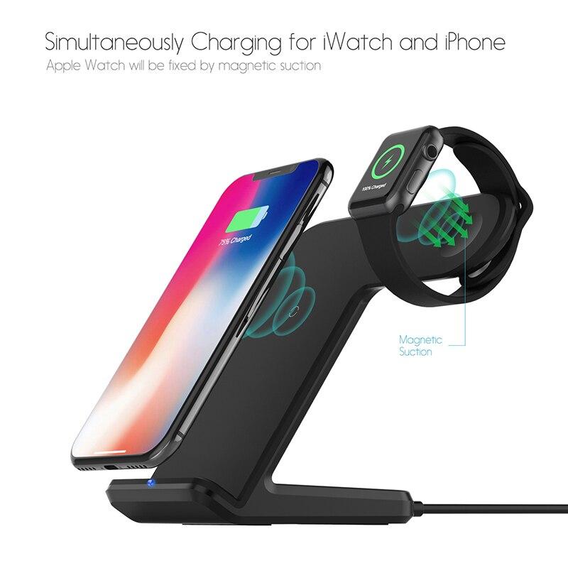 2 dans 1 Stand de chargement Station Berceau de Support de Stand Qi Sans Fil chargeur pour iphone XS Max XR X 8 Pour Apple Montre 4 3 2
