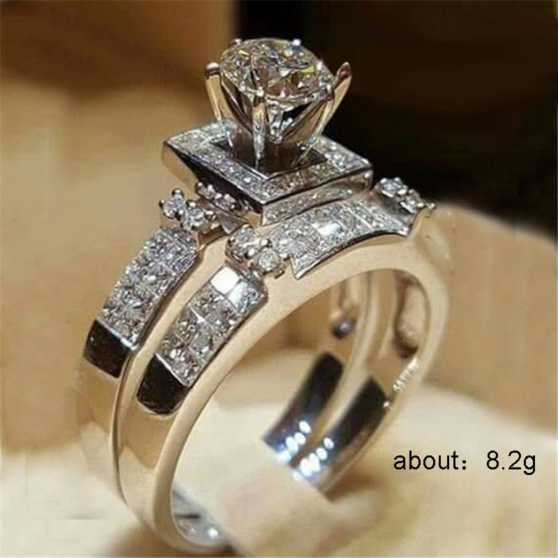 Silver 925 Ring Diamond Rings Mosang Stone Treasure Crystal Two piece Ring Indian Jewelry Men 39 s Accessories Diamond HeartsB2445 in Rings from Jewelry amp Accessories