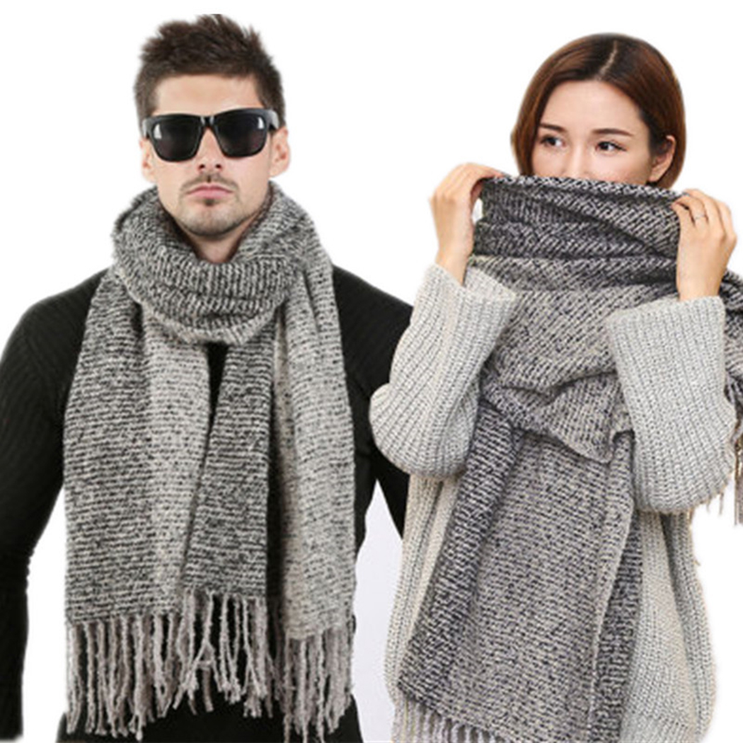 Newest Winter   Scarf   Women Men Cashmere Knitted Wool   Scarf   Unisex Fashion Design Tassel Long   Scarves     Wraps   Couples Blanket Sjaal
