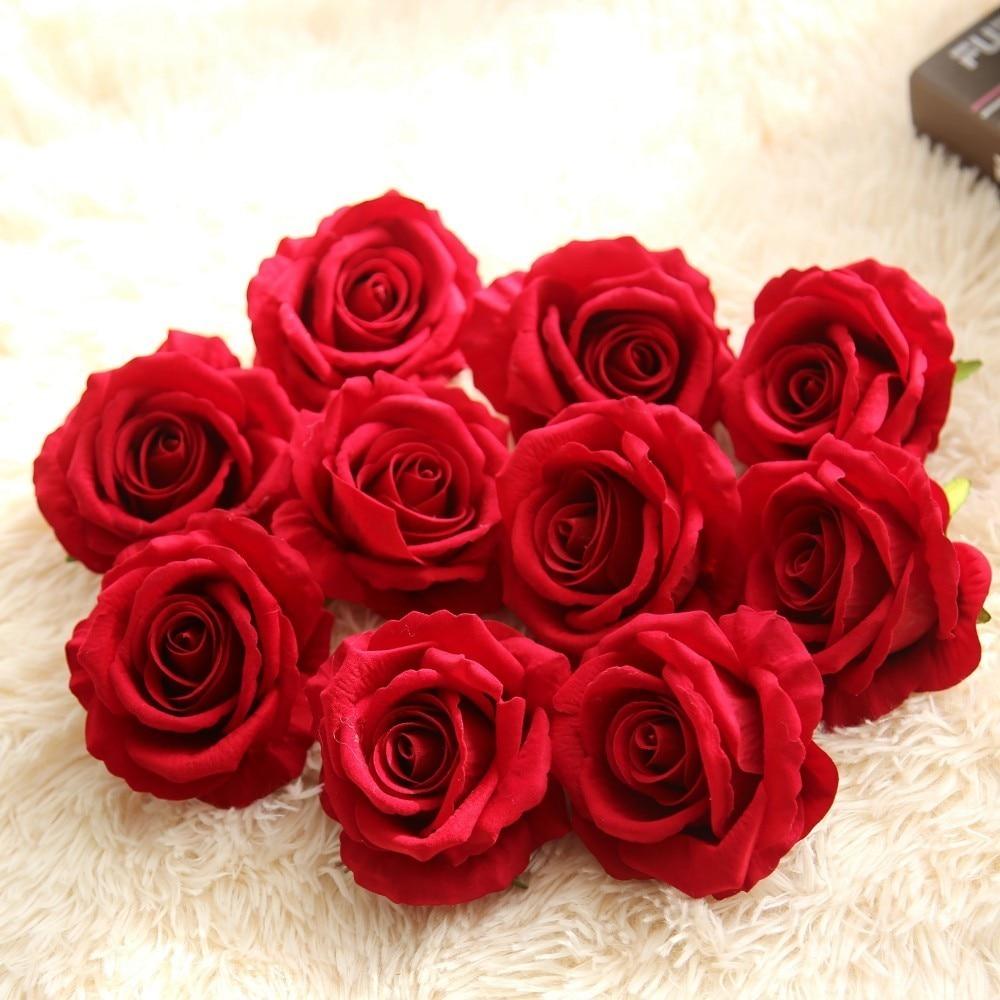 High Quality 50PCS Lot 10CM Artificial Flowers Silk Flower Heads Rose Flower Wedding Decoration DIY Scrapbooking