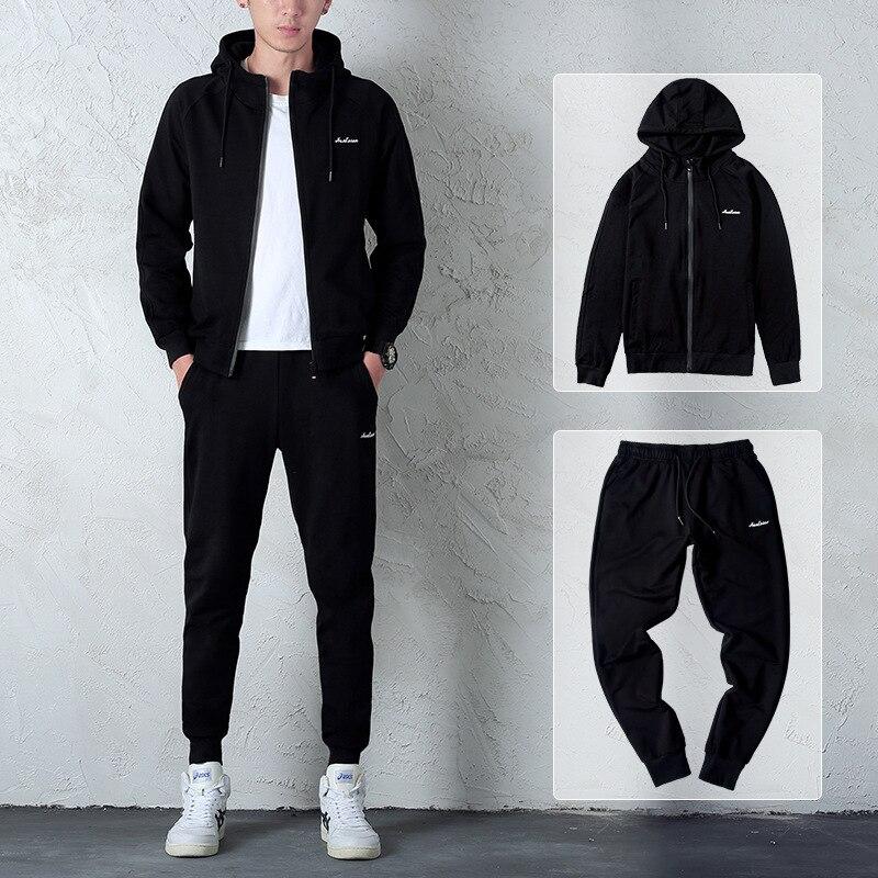 Automne hommes ensembles mode noir survêtement ensemble à capuche zipper sweat + faisceau pied pantalons de survêtement + chaud gilet vêtements de sport décontractés Outwear - 2
