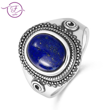 цены Original 925 sterling silver jewelry natural blue lapis lazuli ring oval 8X10MM engagement anniversary gift wholesale