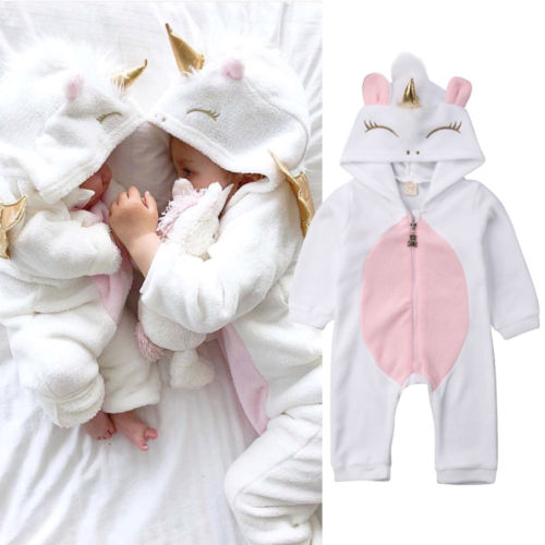 USA Newborn Baby Girl 3D Unicorn Flannel   Romper   Jumpsuit Outfit Clothes
