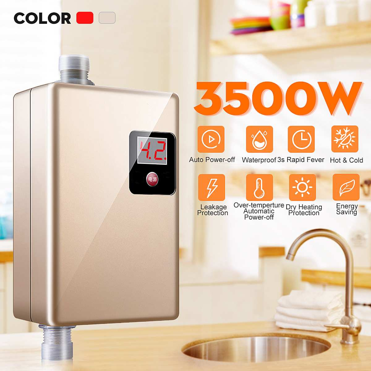 Fast Hot 220V 3500W Mini Electric Tankless Instant Hot Water Heater Kitchen Faucet Tap Heating Instantaneous Waterproof Shower