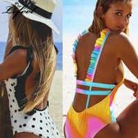 Traje de baño de una pieza para mujer con volantes Bikinis nuevo Sexy sin espalda traje de baño Bikini conjunto Floral bañador ropa de playa Monokini
