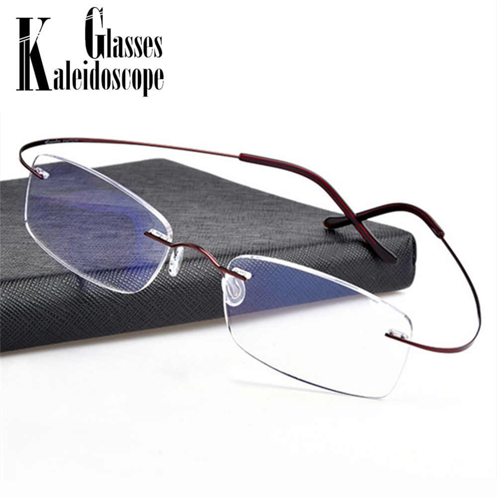 553cfe523f9b Super-elastic Titanium Alloy Glasses Frame Ultra-light Metal Myopia Rimless  Men Flexible Optical