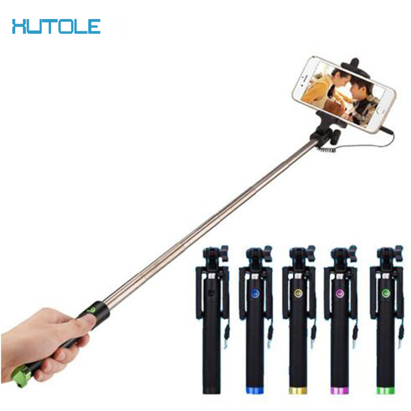 Audio Cable Wired Selfie Stick Extendable Monopod Self Stick for iPhone 6 plus 5 5s 4s IOS Samsung Android