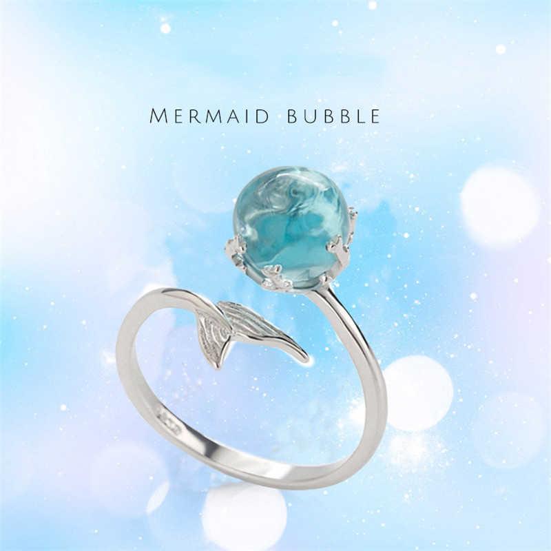 925 เงินเปิดแหวนผู้หญิงเครื่องประดับปรับแหวนเงินคริสตัลสีฟ้า Mermaid Bubble แหวนสำหรับงานแต่งงานแหวน