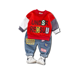 Spring Autumn Kids Boys Girls Letter Clothing Sets Children Patchwork T-shirt Jeans Pants 2Pcs/Set Baby Fashion Cotton Tracksuit fashion new kids clothes sets spring autumn baby boys plaid t shirt jeans long sleeve leisure set cotton children clothing page 5