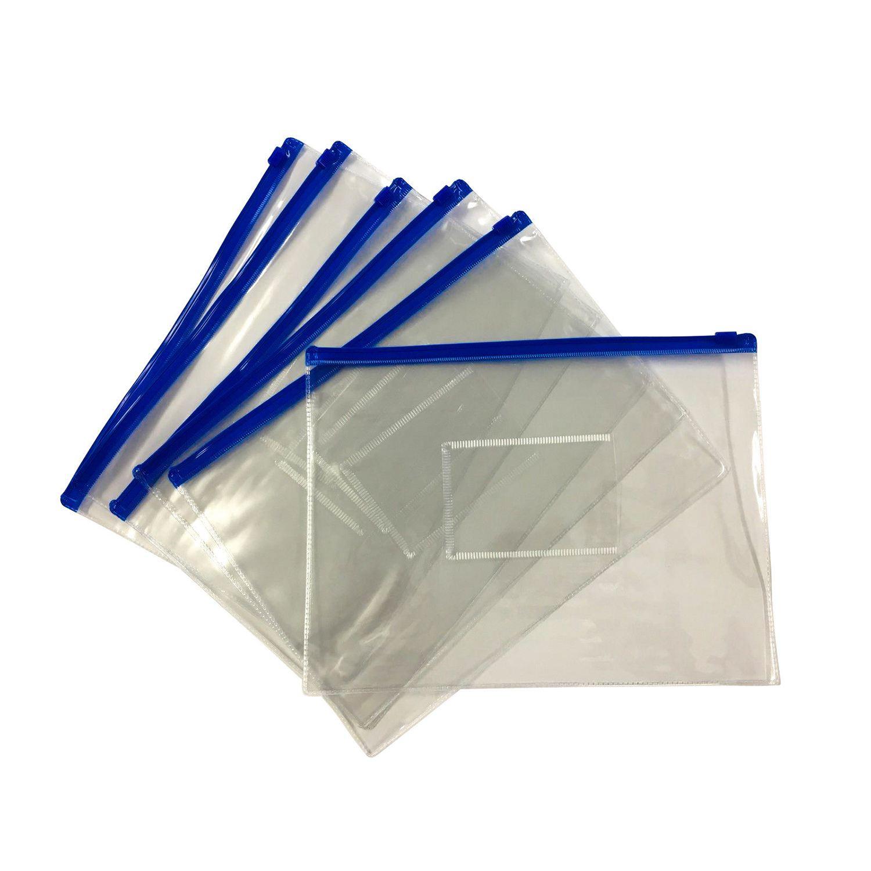12 X A5 Blue Zip Zippy Document Bags  Clear Plastic Transparent Storage