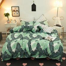 Green Banana Leaf Comforter Bedding Sets Bedspread Bedding Bed Sheet Duvet Cover Pillowcase Bedclothes Twin Full Queen King Size(China)