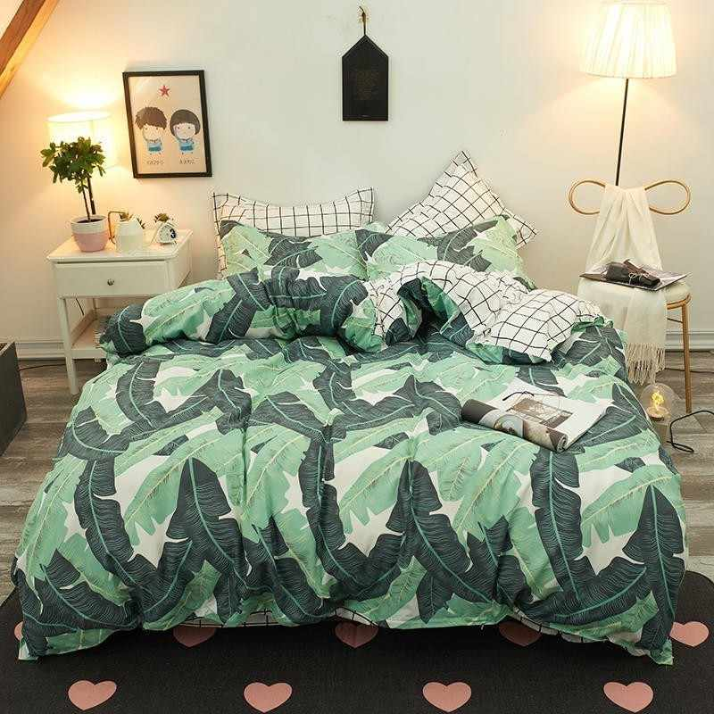 Green Banana Leaf Comforter Bedding Sets Bedspread Bedding Bed Sheet Duvet Cover Pillowcase Bedclothes Twin Full Queen King Size