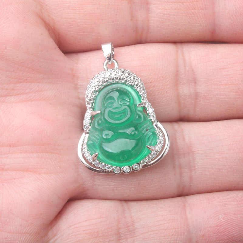 28X23 мм новый камень имитация зеленый нефрит резной Будда инкрустированные стразами Амулет буддийские кулон 1 шт.