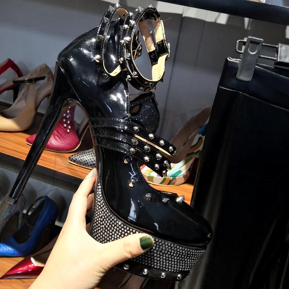 Sandali Borchie Tacchi Punk Piattaforma Mujer Caviglia Delle Donna Black Donne Signore Lgz159 Impermeabile Formato Scarpe Zapatos Cinturini Laigzem Grande Sexy 3452 Alla m0N8nw