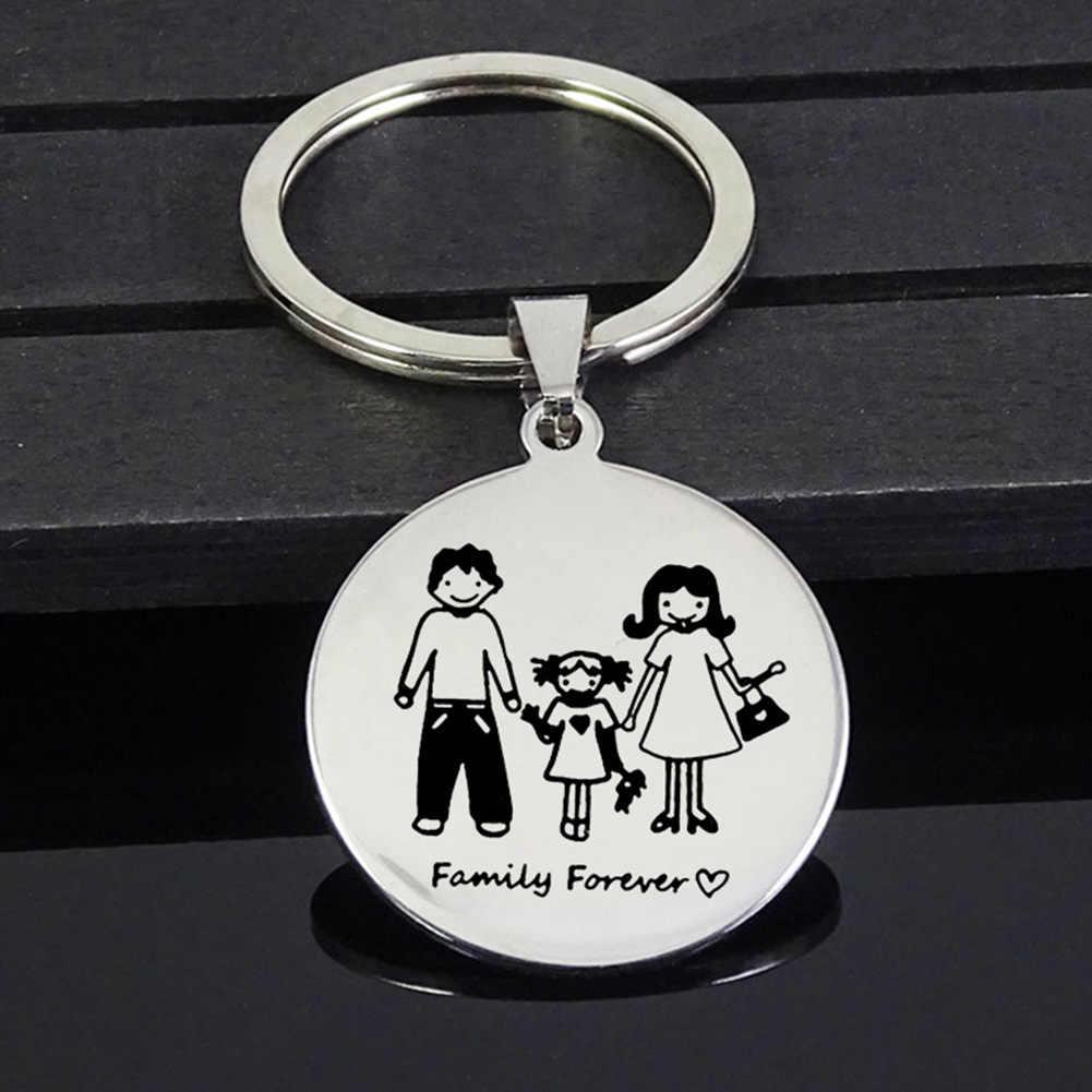 Famille maman papa fille fils Pet porte-clés cadeau de fête des enseignants en acier inoxydable meilleur enseignant porte-clés mère père enfants porte-clés