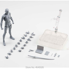 Figma BODY KUN PVC Action Figure CHAN DX Set Archetype Adult Doll Gray Black Color Figurine Collectible Model Toy 15cm