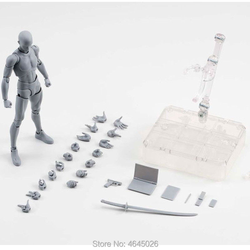 Figma BODY KUN PVC Action Figure BODY CHAN <font><b>DX</b></font> Set Archetype Adult Doll Gray Black Color Figurine Collectible Model <font><b>Toy</b></font> 15cm image