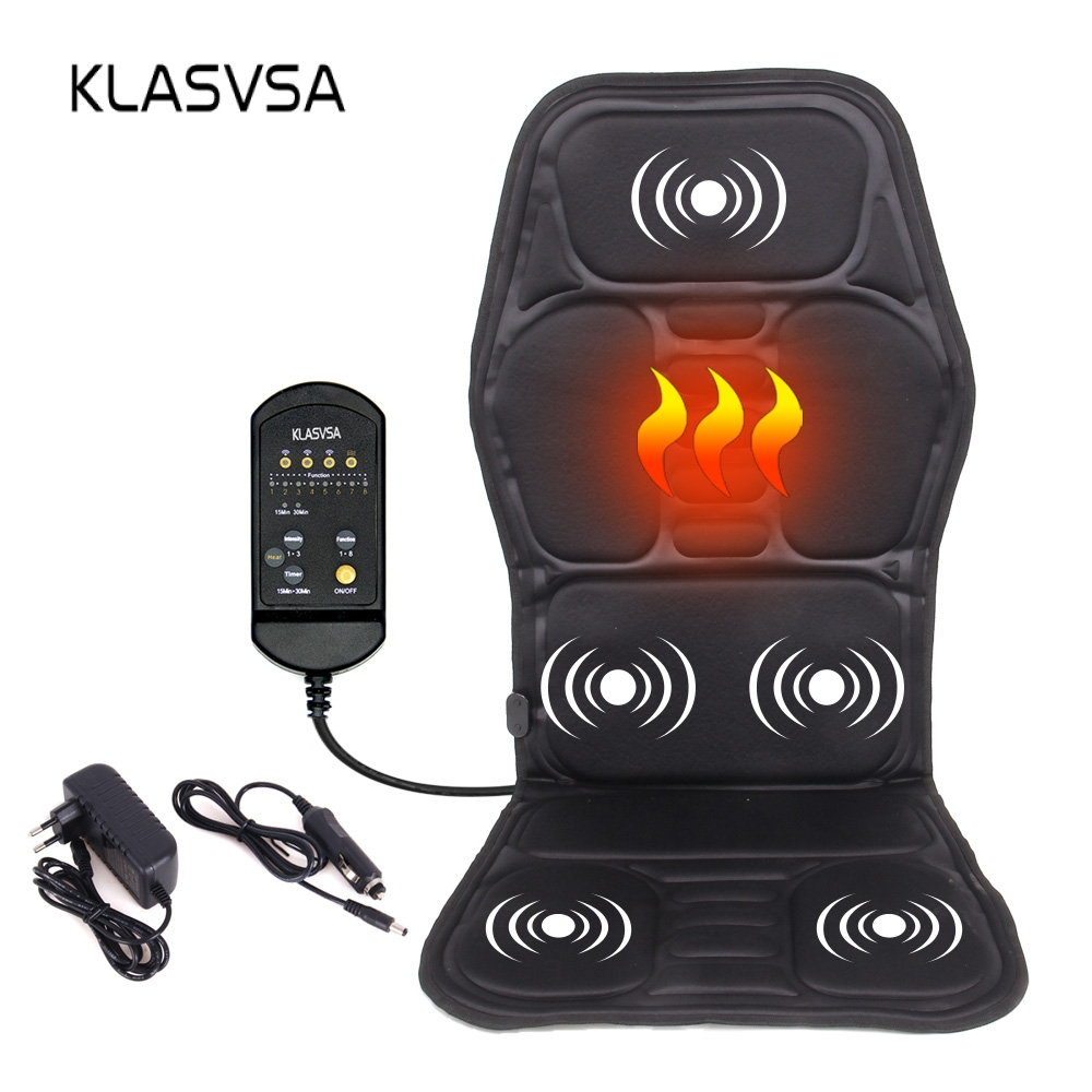 KLASVSA Electric Back Massager Chair Cushion Vibrator Portable Home Car Office Neck Lumbar Waist Pain Relief Seat Pad Relax MatKLASVSA Electric Back Massager Chair Cushion Vibrator Portable Home Car Office Neck Lumbar Waist Pain Relief Seat Pad Relax Mat