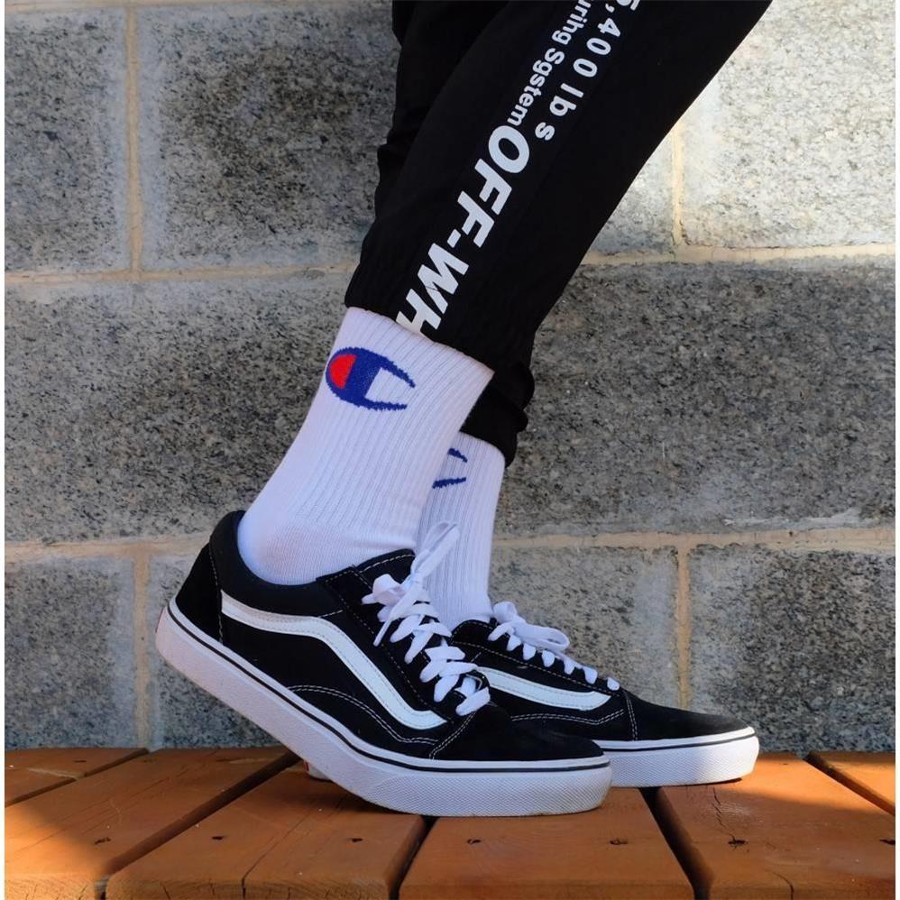 Champion Letter Crew Ins Socks New Harajuku Black White Streetwear Long Socks Funny Unisex Casual Skateboard Socks Drop Shipping