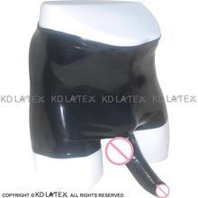 Black Mid Waist Latex Briefs Anatomical Penis Sheath Rubber Underwear Shorts Bottoms DK-0022
