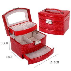 Image 5 - 自動革の宝石箱三層収納ボックス女性のためのイヤリングリング化粧品オーガナイザー棺装飾用黒