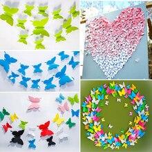 Художественная наклейка, свадебные наклейки s, украшение для дома, 20 шт./лот, бумажные бабочки, праздничные вечерние 3D наклейки на стену, сделай сам