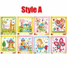 DIY Button Picture Art Educational Learning Creativ Intelligence Children Toys Picture Handmade Painting Drawing Craft Kit