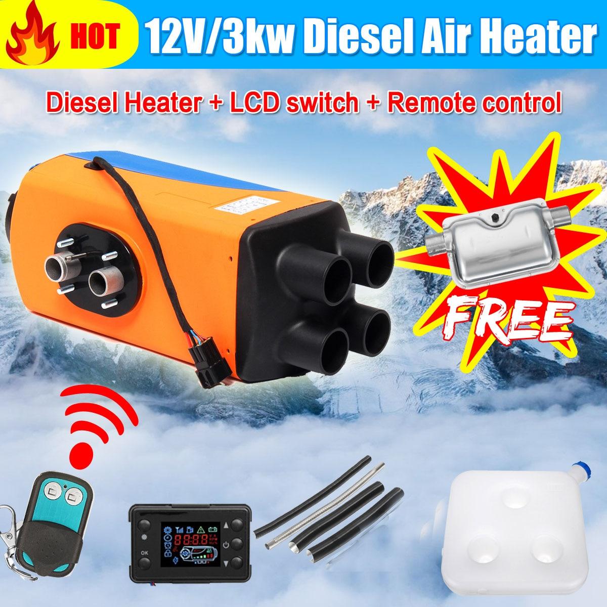 KROAK 12 V radiateur de voiture 3KW Air Diesels Chauffe-chauffage de stationnement Avec ÉCRAN LCD télécommande + Silencieux pour la voiture Chauffage Accessoires
