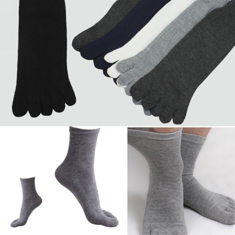 Casual 1 Pair Autumn Winter Warm Style Unisx Men Women Five Finger Pure Cotton Toe High Quality Sock 6 Colors Men's Socks