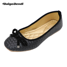 Fashion Woven Flats Woman Bowknot Square Toe Ballet Girls Classical knitting Comfortable Work Shoes Retro