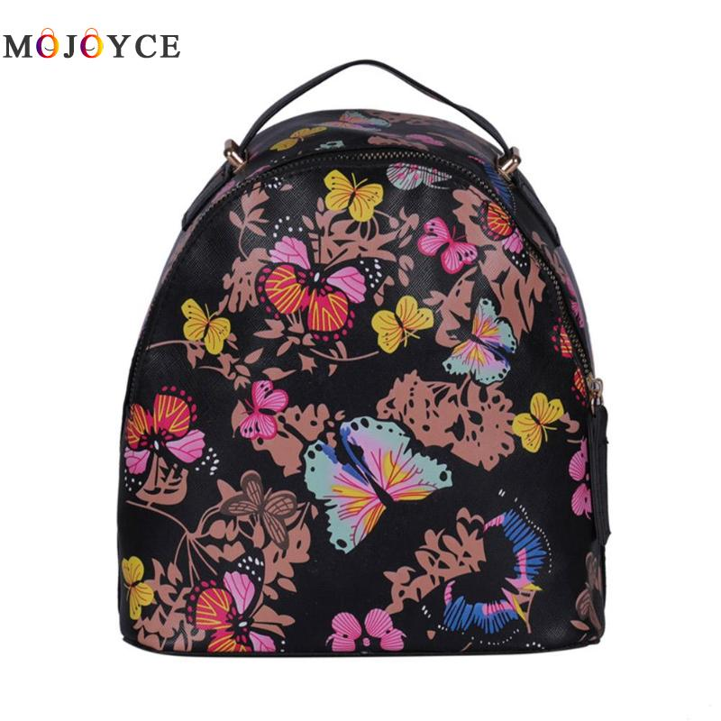 Fashion Flower Butterfly Printing Small Backpack Women Shoulder School PU Leather Mini Backpack Fashion Flower Butterfly Printing Small Backpack Women Shoulder School PU Leather Mini Backpack