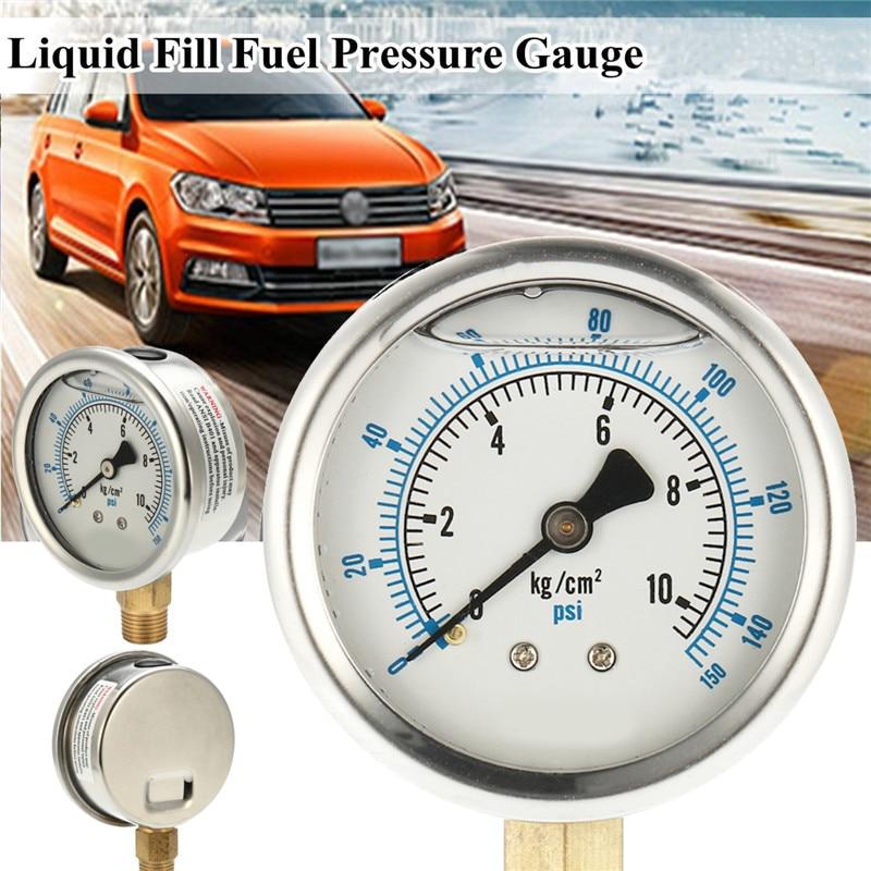 150PSI 10Bar PT14 Dia 65mm 0-10KG Car Liquid Oil Filled Pressure Gauge Car Universal Pressure Measuring Machine Auto accessory