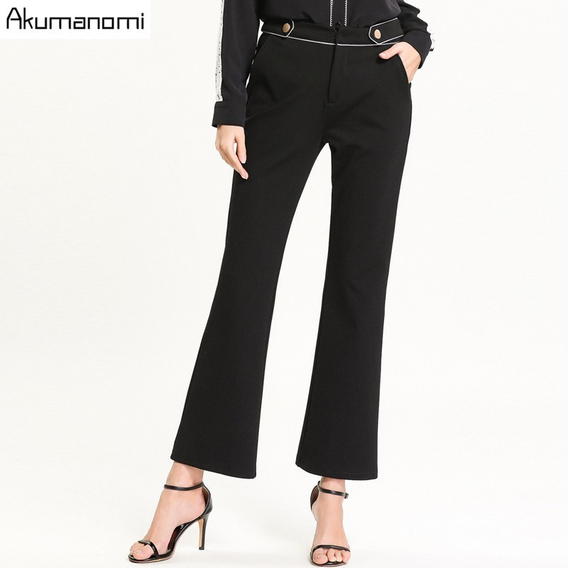 Akuma 2019 Women Spring Ankle Length Pants Fashion Solid Black Flare Pants Casual Zipper Trousers Pantalones Plus Size 5xl l