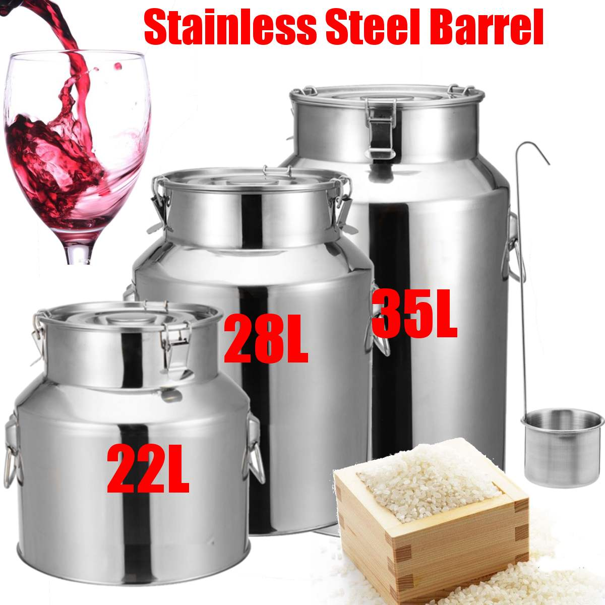 22/28/35L Stainless Steel Barrel Seal Beer Brewing Wine Beer Whiskey Rum Barrel Port Container Storage Oil Milk Rice Barrel