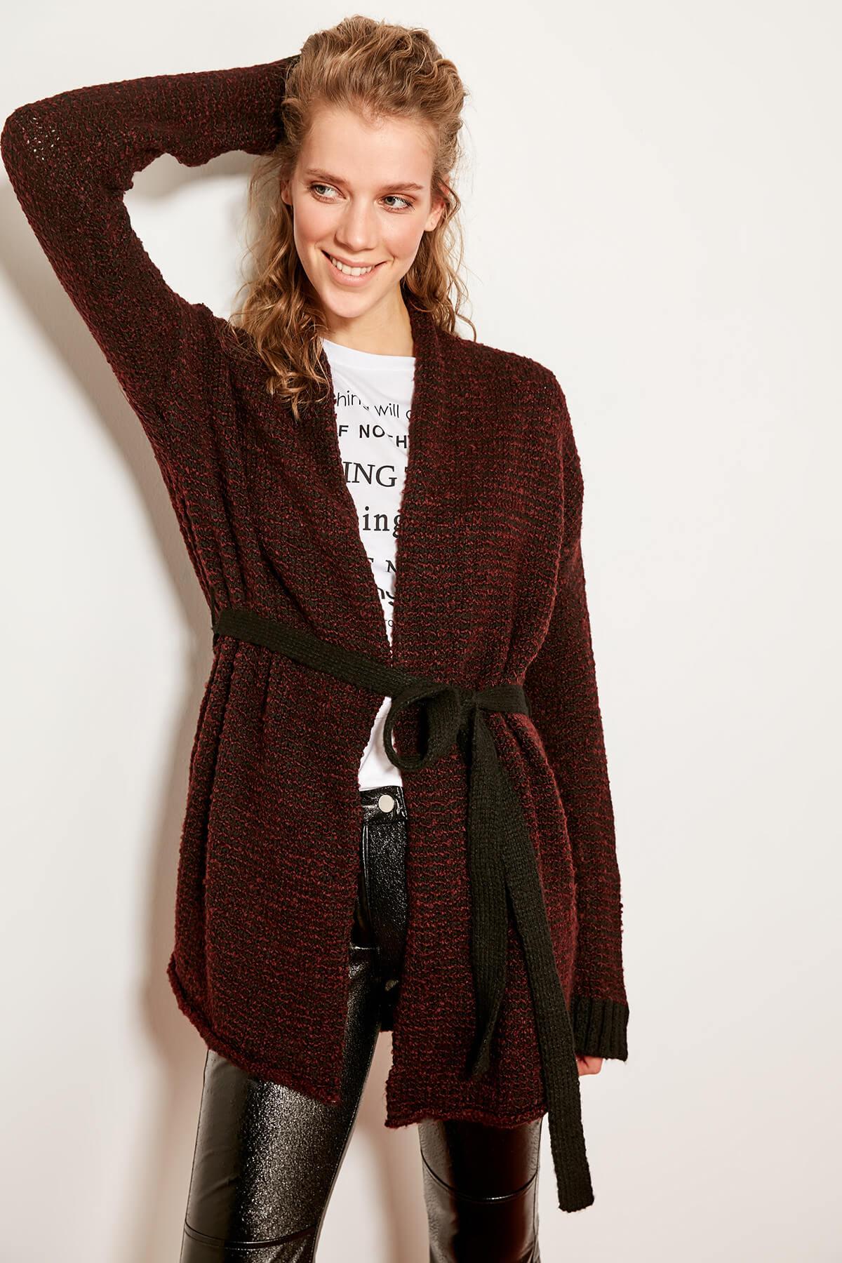Trendyol бордовый вязаный свитер Tclaw19wb0005 Bdjurloveme