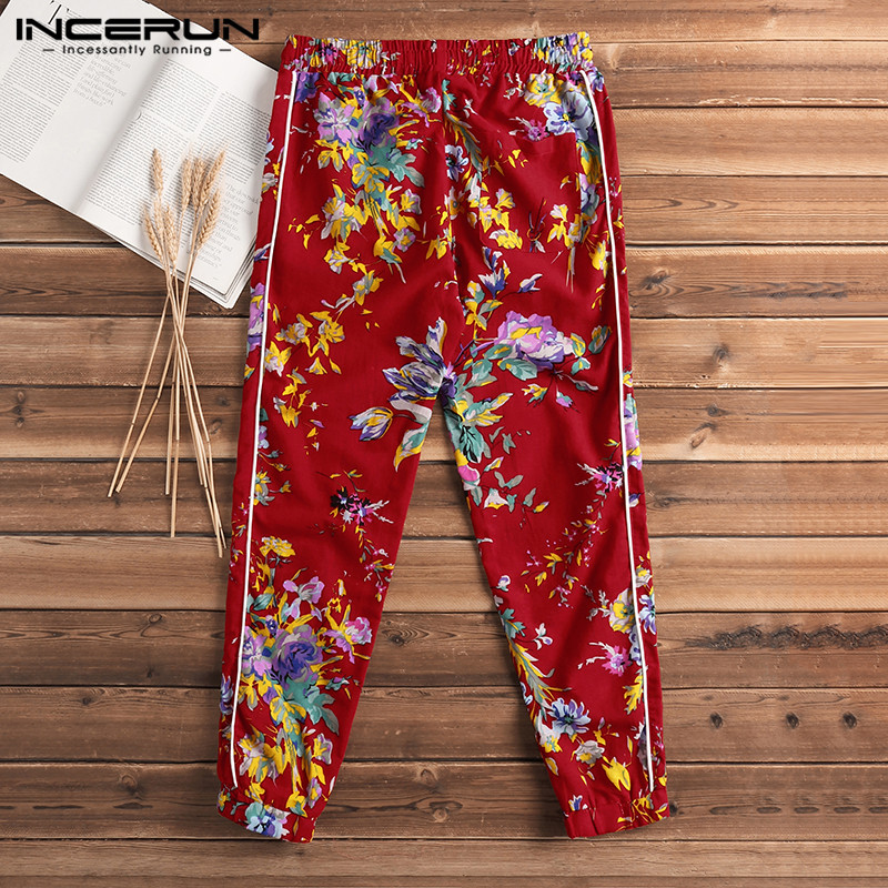 INCERUN 2019 Floral Print Men Pants Joggers Chinese Style Cotton Linen Fitness Trousers Men Streetwear Casual Pants Hombre S-5XL