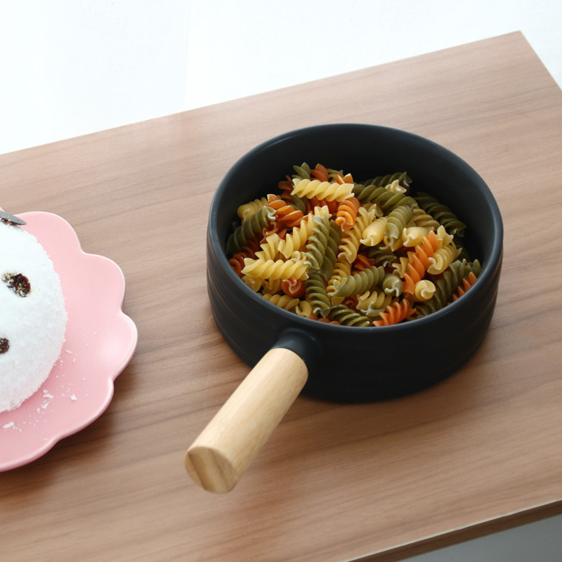 Nordic Ceramic Soup Rice Bowl Sigle Wooden Handle Pan 2