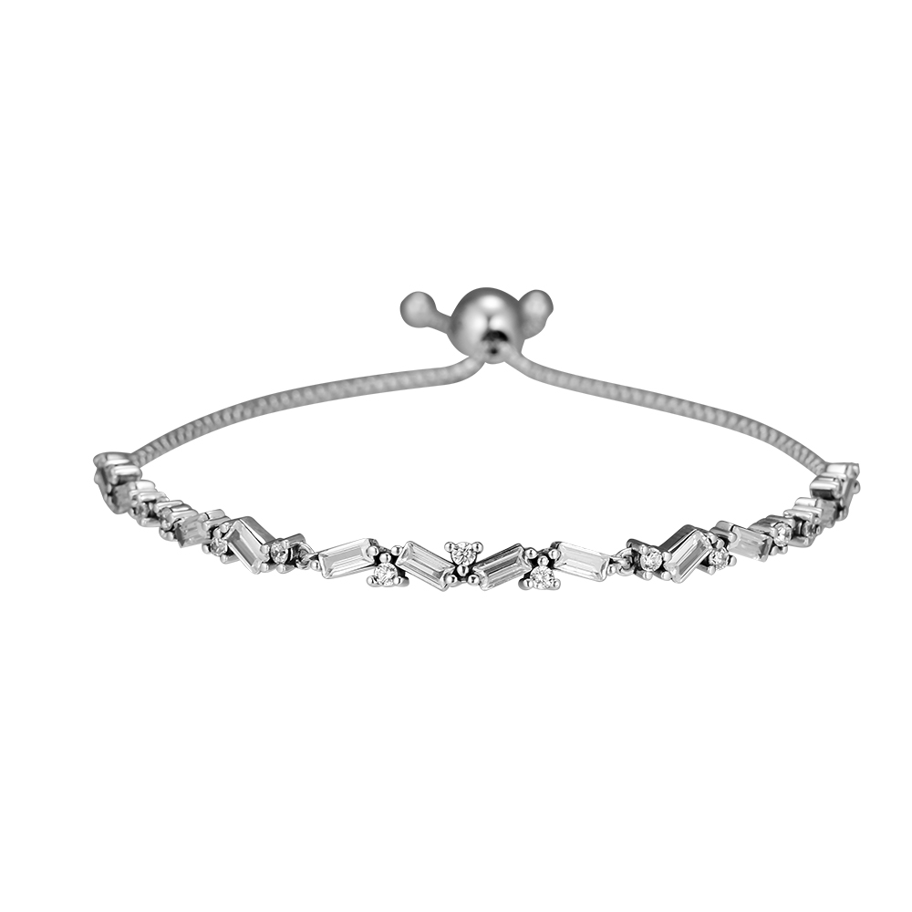 Sterling-Silver-Jewelry Glacial Beauty Sliding Bracelet 925 Sterling Silver Clear CZ Charm Bracelet For Women DIY Jewelry MakingSterling-Silver-Jewelry Glacial Beauty Sliding Bracelet 925 Sterling Silver Clear CZ Charm Bracelet For Women DIY Jewelry Making