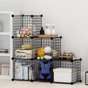 Image 3 - Multifunctional Black Metal 35x35cm Mesh Combination Storage DIY Cube Wardrobe And Modular Shelf Net Wire Mesh Shelf And Shelf