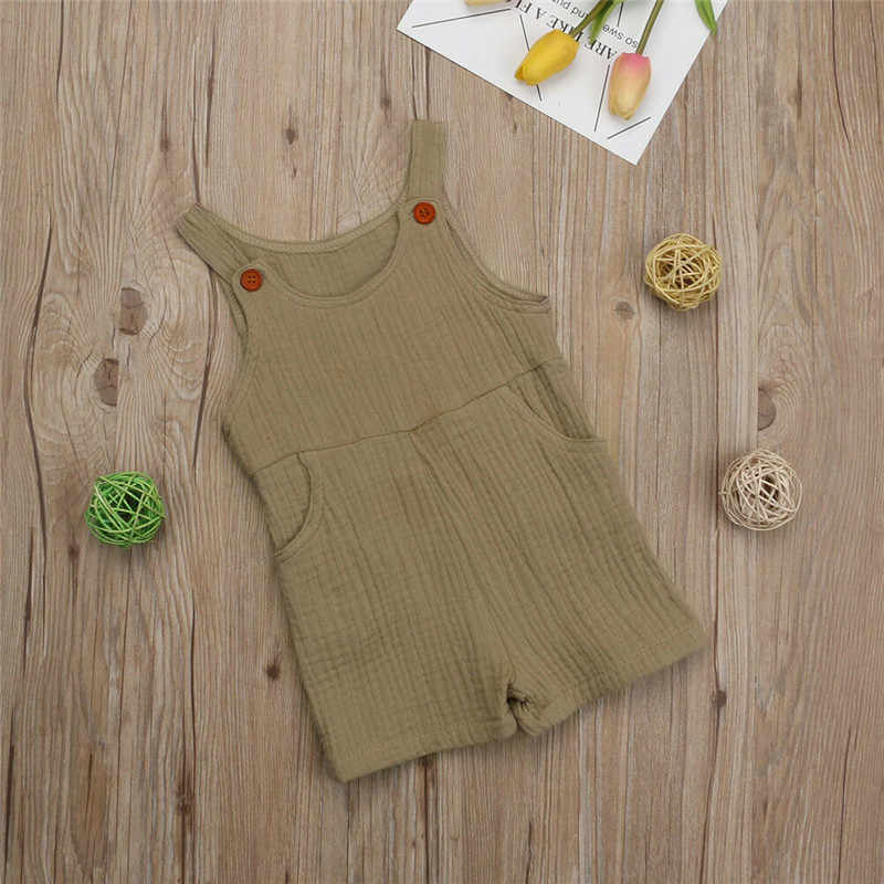 a2d07d3f711d ... Newborn Baby Girl Summer Cotton Linen Romper Jumpsuit Sleeveless Outfits  Clothes Casual Baby Clothing Rompers ...