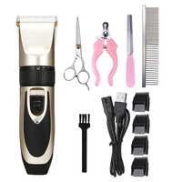 Dog Hair Trimmer Professional Titanium Ceramic Pet Grooming Set Electrical Rechargeable Pet Clipper Shaver Set Haircut Machine