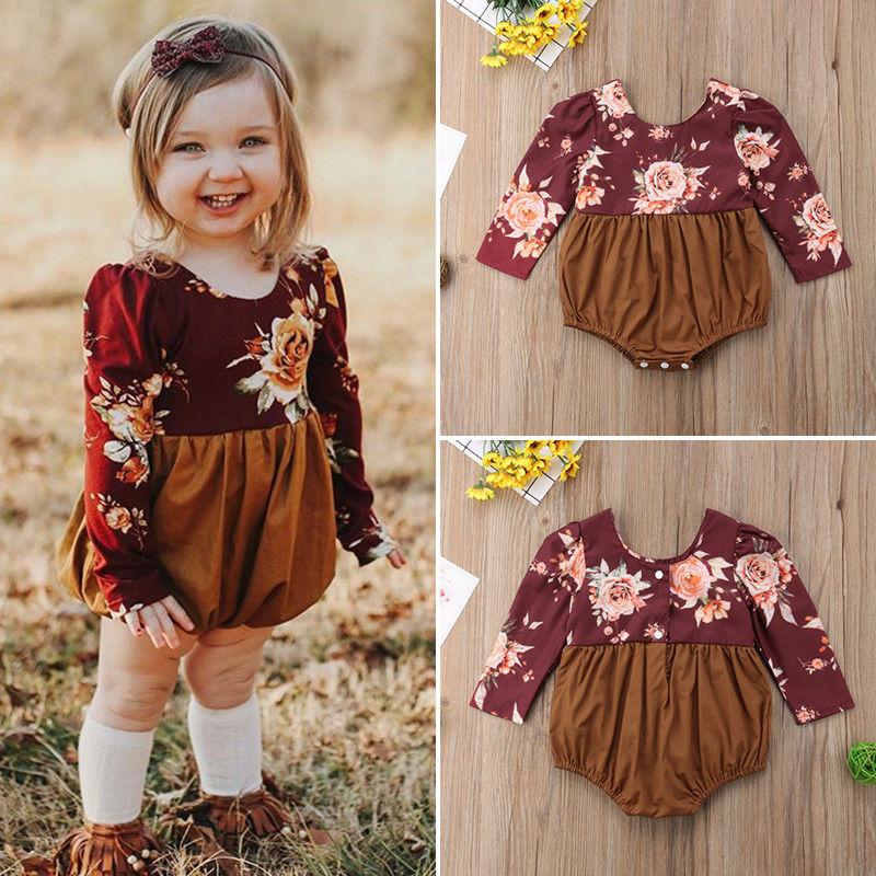Pudcoco/комбинезоны для девочек от 0 до 24 месяцев в британском стиле, комбинезон с длинными рукавами и цветочным принтом для новорожденных дево...