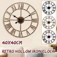 Настенные часы 3D круговой Ретро Римский кованый пустой Железный винтажный большой немой декоративный настенные часы домашнее украшение Ст...