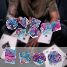 Heiße Verkäufe 7 Teile/satz Multi Seite Polyhedral Würfel Lila Blau Trinken Dice Für Party Spiel Spielzeug Set