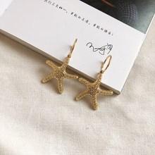 цены Summer Women Bohemian Gold Starfish Conch Shell Big Drop Earrings High Quality Shell Circle Dangle Earrings