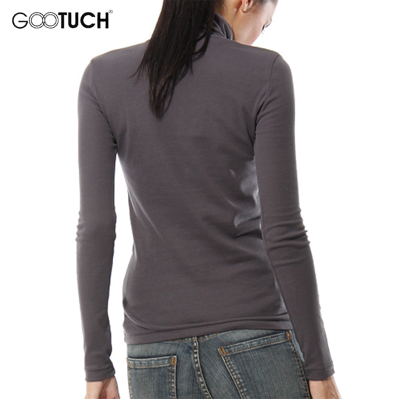 new concept de6b7 69930 US $9.49 5% OFF|Winter Frauen Hohe Kragen T Shirt Mode Langarm Rollkragen  Top Tees Warm Halten Shirt 5XL 6XL Frauen Plus Größe T Shirts 7095-in ...