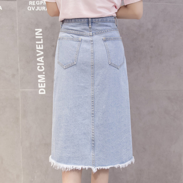 Flectit 2019 Button Front Midi Denim Skirt for Women Casual High Waist Fray Hem with Pocket Knee Length Jeans Skirt Female * 3