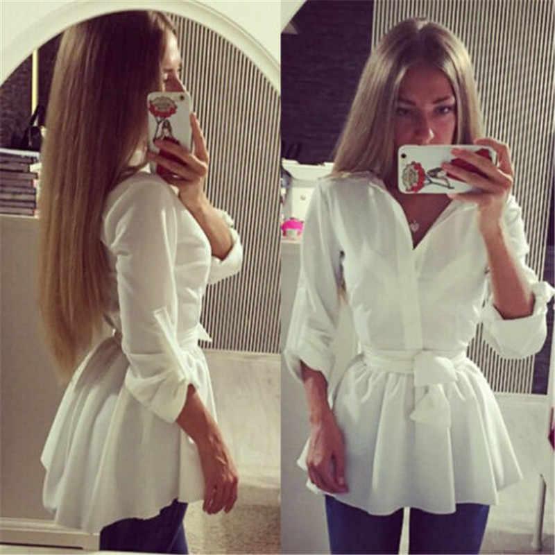 แฟชั่นสตรี Frill Tops Casual เสื้อผู้หญิงแบบหลวมๆเสื้อเสื้อ Sashes ปุ่มยาวเสื้อผ้าความยาว