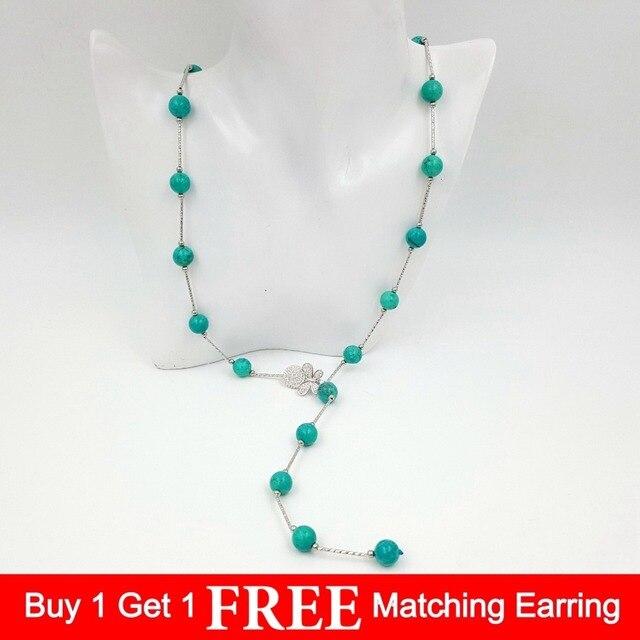 Уникальное винтажное ожерелье LiiJi с цепочкой на свитер, женские бирюзы 10 мм, каменные бусины, серебряное покрытие, искусственное ожерелье в стиле бохо