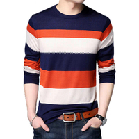 Riinr New Sweater Men Brand Clothing Autumn High quality Mens Sweaters Casual Striped O neck Pullover Men Plus Size Shirt Homme
